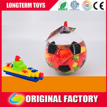 2016 High quality plastic packaging football puzzle blocks children's boat