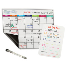 low MOQ simple type 12'' by 16'' monthly whiteboard magnetic calendar for refrigerator with 1pcs marker and list