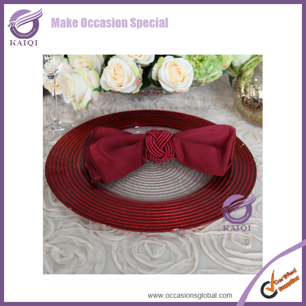 PZ37400 Wholesale wedding suppliers red rose gold glass charger plates