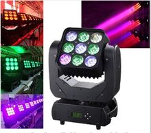 9PCS 10W RGBW 4in1 Club DJ Disco Party LED Stage Lighting Matrix Beam Moving Head