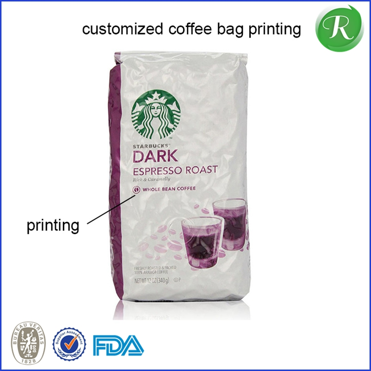Custom Printed Aluminum Foil Tin Tie Stand up Coffee Bean Packing Pouch/ Side Gusset Qual Sealed Coffee Packaging Bag with Valve