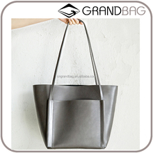 custom high quality fashion classic cowhide soft medium leather tote bag unlined women