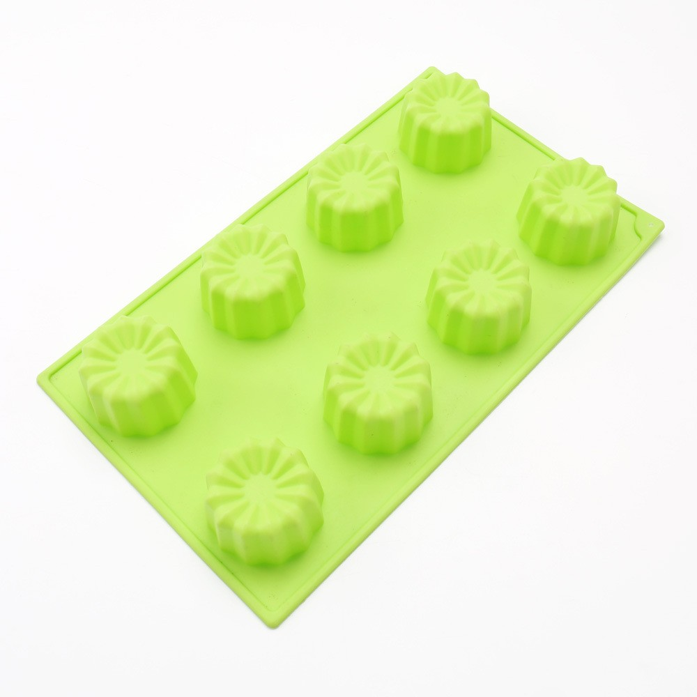 8 flower shaped cavity ice mold silicone square ice cube mold