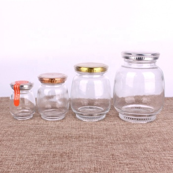 good quality honey or  jam food glass jars with colored metal lids