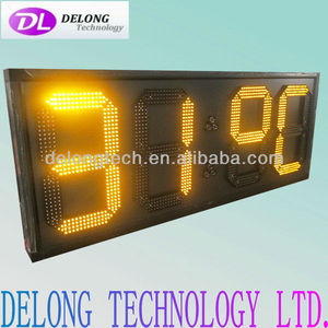 "Indoor CE and RoHS 12"" IP53 remote control yellow large led temperature display"