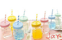 Promotion BPA Free Food grade 20 OZ plastic mason jar assorted colors with lid and straw