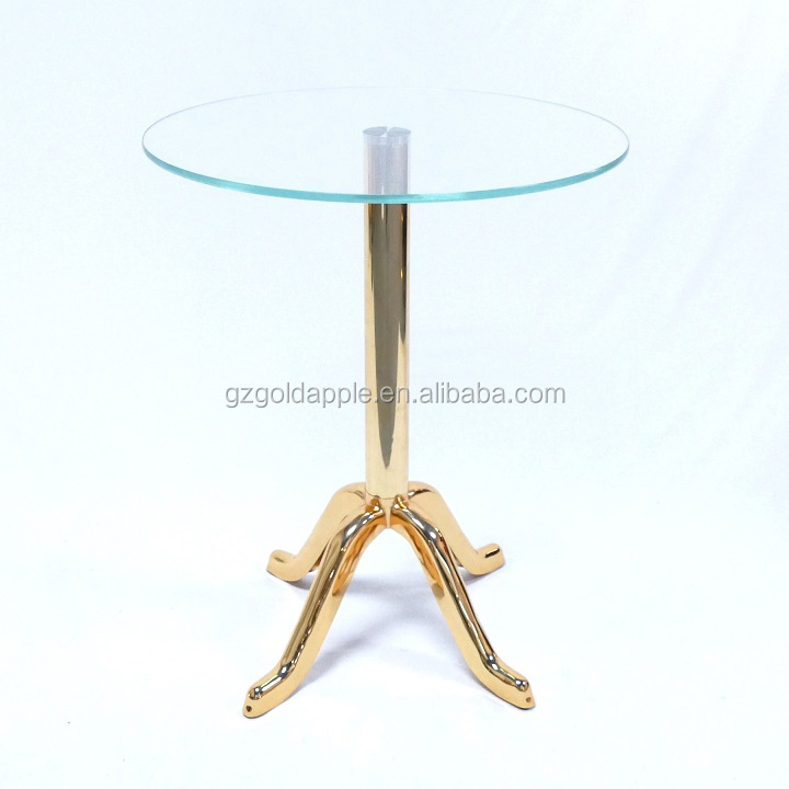 Gold color coffee table with tempered glass, coffee shop furniture glass round table
