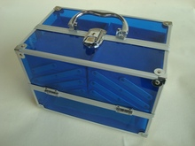 Acrylic cosmetic case bag ,blue trendy cosmetic bags makeup organizer case with lock