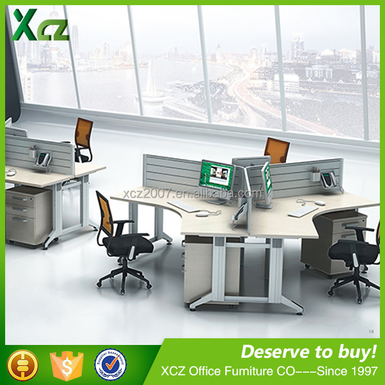 Open 3 person 120 degree office cubicle workstation/office furniture/office workstation partition