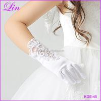 Fashion Kid Long Finger short Gloves for Flower Girl Children Party dress Gloves White