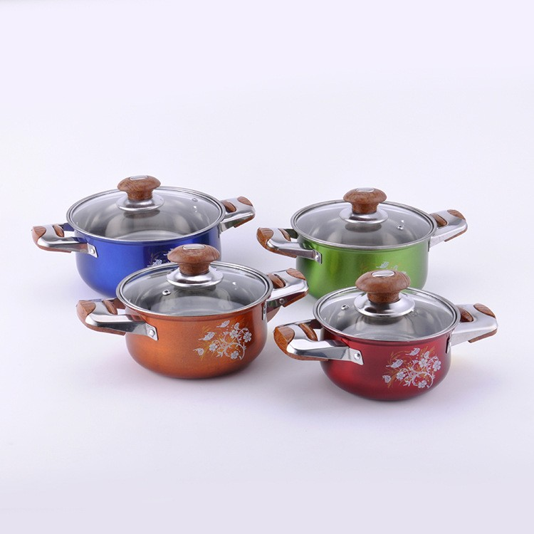 Hot Selling 8 pcs stainless steel cookware set/stock pot/casserole/cooking pot American high pot with glass lid