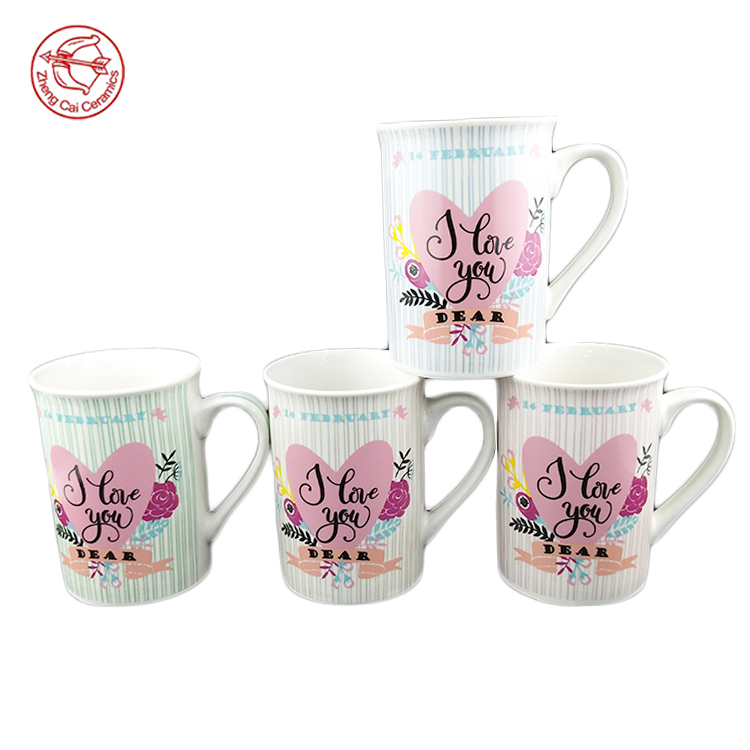 Wholesale cute 11 oz white mug cups with heart shape