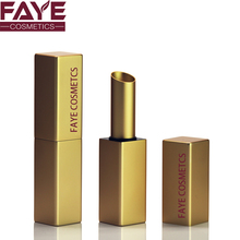 Wholesale empty cosmetic make your own luxury square shiny gold tube lipstick
