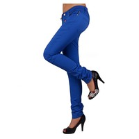 women colored denim jeans basic 5 pockets jeans for summer styling bright colored denim jeans