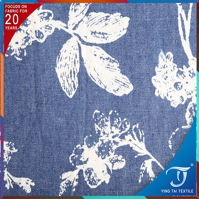 foshan factory directly sale 32s*32S cotton denim fabric with prints