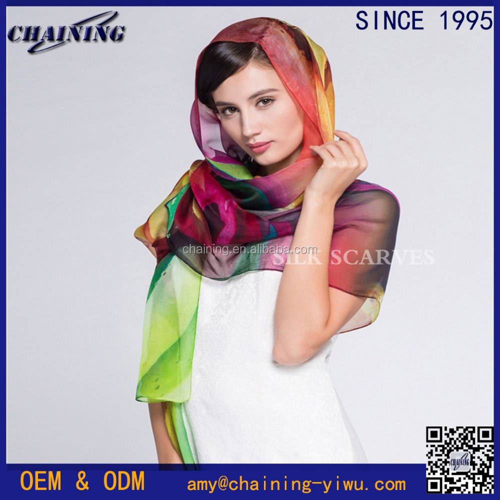 2017 new style wholesale light weight multicolor 100% silk chiffon women hijab <strong>scarf</strong>