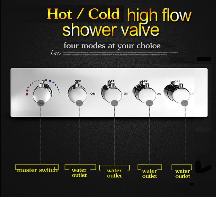 Hot Cold Water Mixer led color change 3 function shower faucet rainfall waterfall bath shower set with 6 pcs body jets