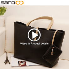 Free sample new product branded black fashion bag ladies handbag 2017, leather tote bag for women