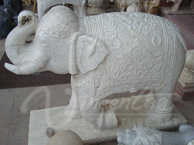 Large garden decoration life size natural white marble elephant hot sale