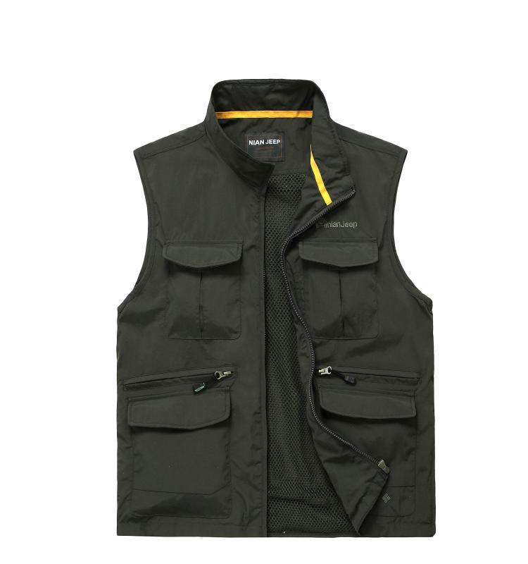 Summer thin section mesh multi-pocket vest outdoor leisure travel photography vest fishing vest men's waistcoat