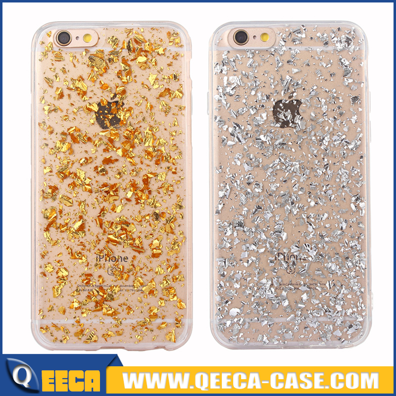 For iphone 7 case for women Luxury Bling Glitter Sparkle Gold Foil Embedded Transparent Soft Rubber Gel TPU case rose gold silve