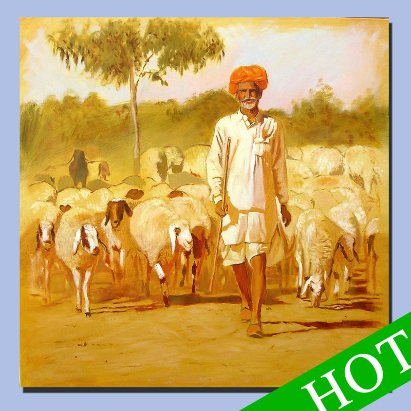 canvas rajasthani paintings,Summer grazing desert scene painted abstract art of oil painting, wall decoration canvas painting