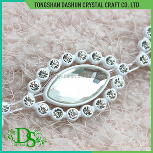 High quality glass crystal navette beads rhinestone trimming banding rhinestone trimming for dress
