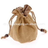 wholasale round bottom jute cashew nuts bag with drawstring jute food bag jute cocoa bag promotional jute bag
