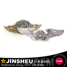Custom gold metal airline pilot wing badge
