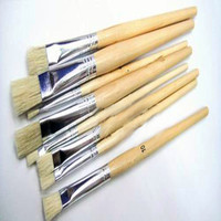China art supplies paint brush with wooden handle natural bristle paint brush