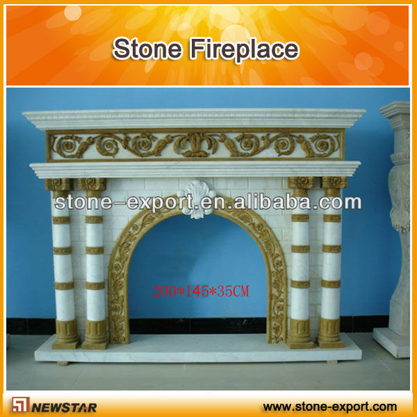 White Marble Indoor Freestanding Fireplace