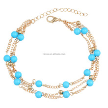 Fashion blue beads gold chain ankle jewelry wholesale HZS-0118