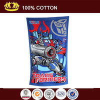 100% cotton soft velour trans formers carton reactive printed bath towel
