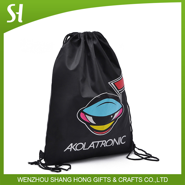 Recycle Nylon Polyester Drawstring Backpack soccer sports Gym Bag with ball holder