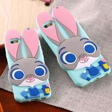 Rabbit TPU Gel Silicon Back Case For Samsung Galay S5 S6 S7 Lovely Cute Mobile Phone Accessories For iPhone 6 6s/Plus