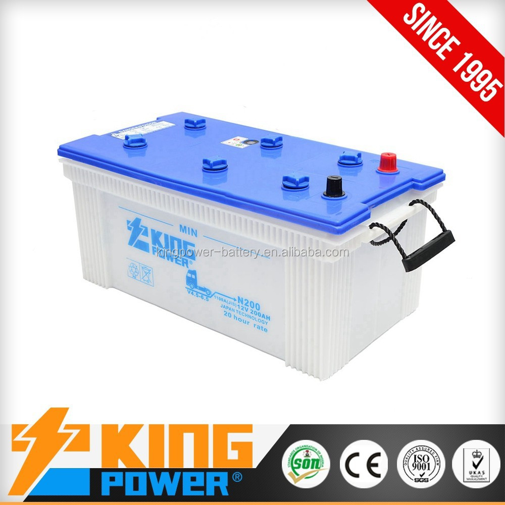 N200 Japan car battery 12V dry charge 200AH china supplier