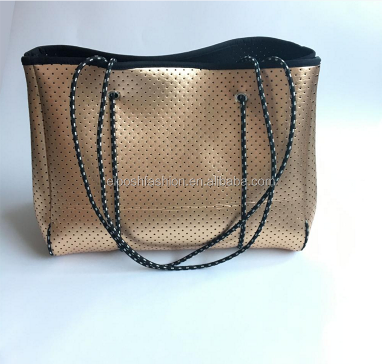 2018 fashion Customized Women Perforated Neoprene Tote bag