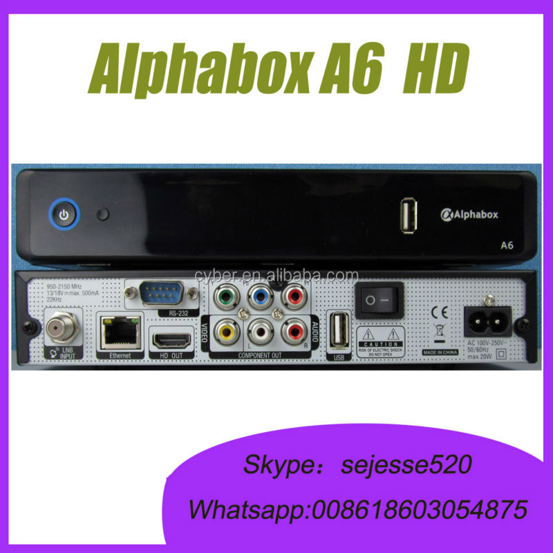 Alphabox A6 Support 3G and IPTV Receiver DVB-S2 internet sharing satellite receiver same as skybox a6