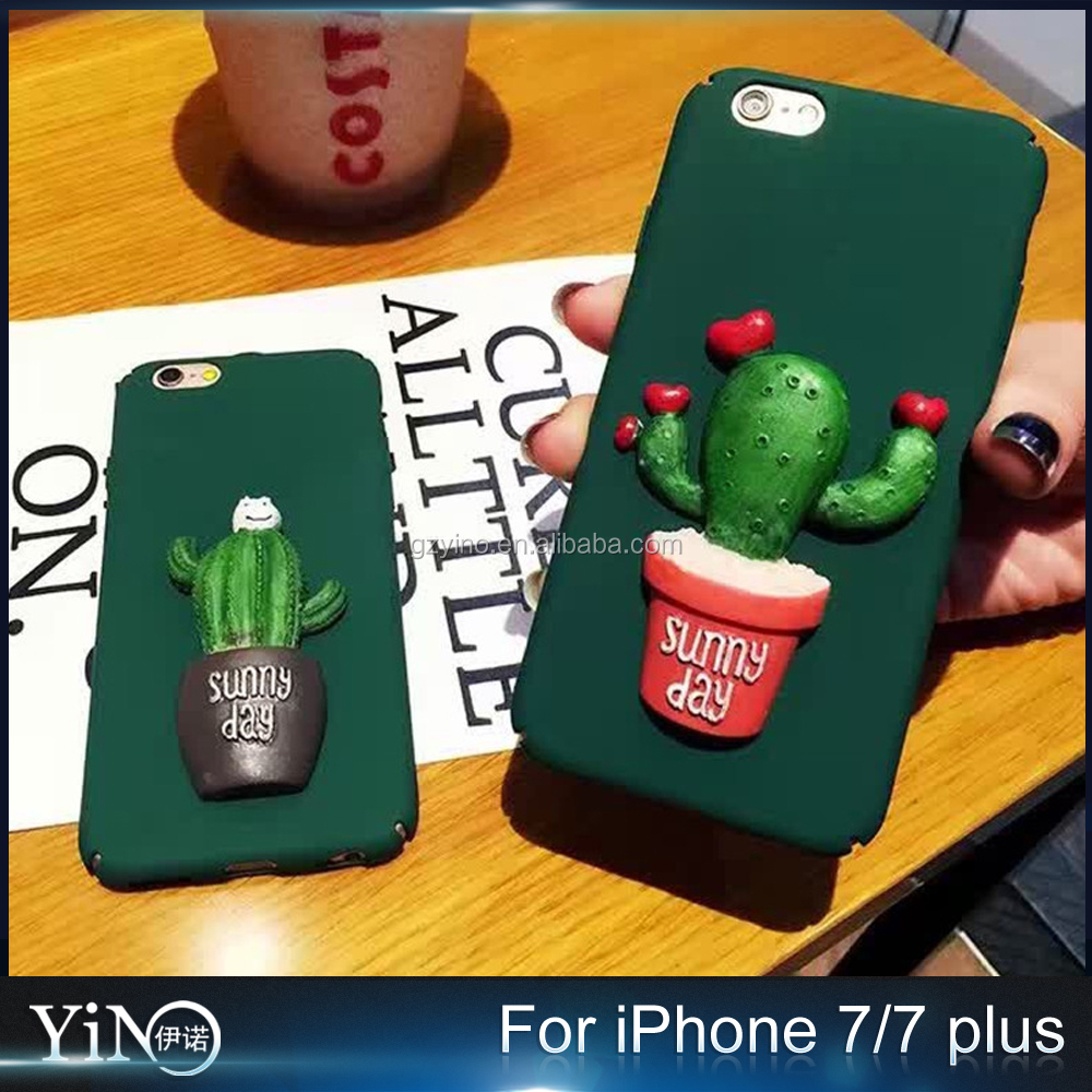 New Arrive Hard Plastic Freshness Green Cartoon Sunny Day Potted Plant 3D Cactus Case for Iphone 7 7 plus