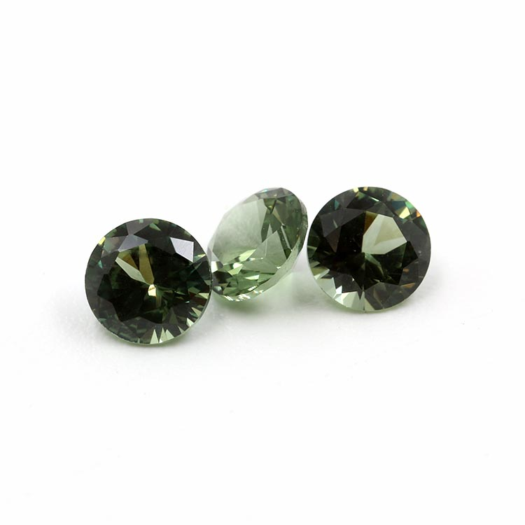 149# green color synthetic spinel stone round shape gemstone