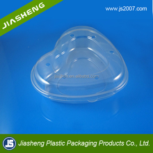 Plastic Clamshell heart shape Fruits Packaging with holes Clear Plastic Clamshell for Fruits, fruit tray