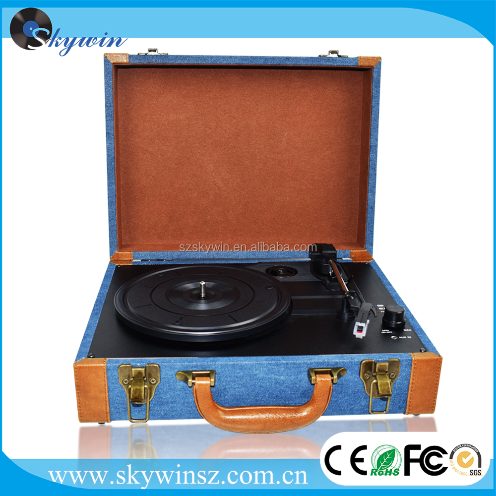 Retro Suitcase Belt Vintage USB Turntable Player bluetooth built-in stereo speakers with CE Rhos approval