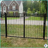 monocycle Galvanized E-coat 3-Rails Flat Top home steel fences with ring