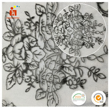 2017 Hot selling classic design polyester lace embroidery mesh flocking fabric