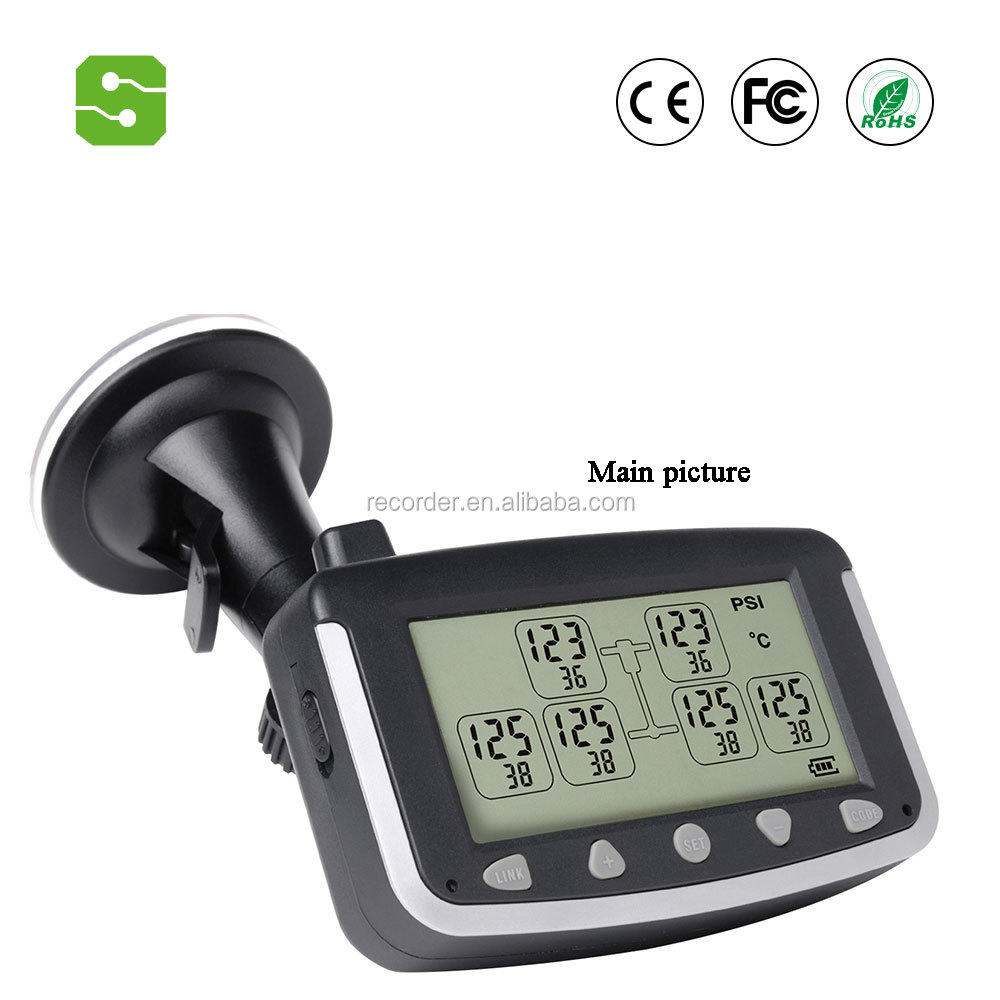 Car LED display tire pressure monitoring system (6) wheel tire temperature monitor tire pressure