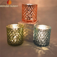 Hot Sell Silver/Gold/Blue Mercury Glass Candle Holder