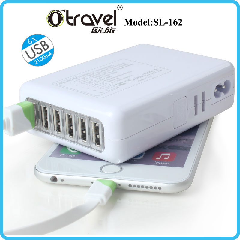 China 6 USB Port Home Travel AC Wall Charger Adapter Us/UK/EU/Au Plug for iPhone 5
