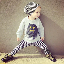 YF7759 cartoon children suit long sleeve shirt + stripe trousers baby suits