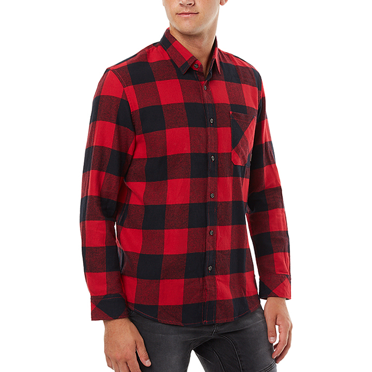 New Arrival Custom Casual Cotton Slim Fit Flannel Long Sleeve Man Plaid Shirt