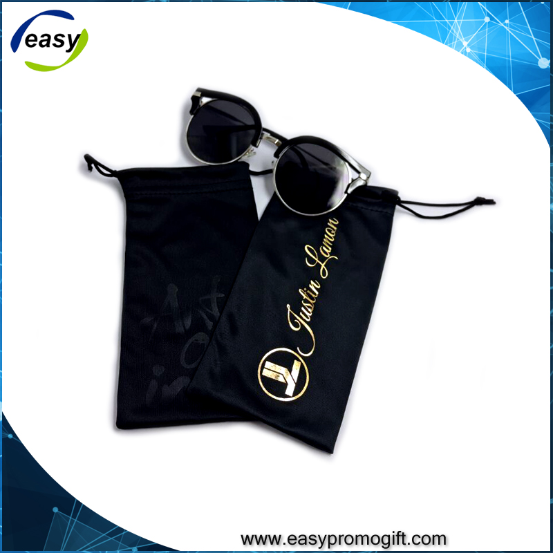 Customized printed microfiber sunglasses pouch with drawstring